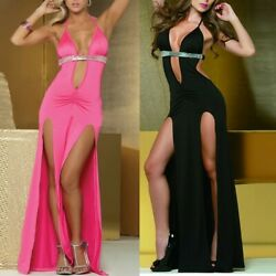 Women Sexy Lingerie Clubwear Deep V-Neck Backless Sequined Split Dress HY