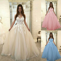 Fashion Women Floral Lace Wedding Chiffon V Neck Evening Party Dress Ball Gown