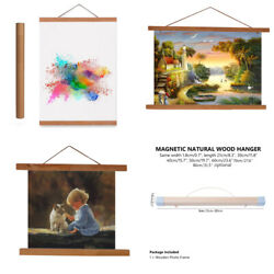 DIY Magnetic Wooden Poster Frames Simple Picture Hanger A4 Print Painting Scroll