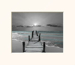 Beach Pier Ocean Sunset Bedroom Bathroom Home Decor Wall Art Matted Picture $19.99