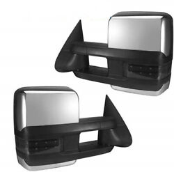 For 03-06 Silverado Sierra Chrome Power+Heated+Signal+Backup Lamp Towing Mirrors