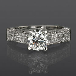 VVS1 DIAMOND RING ROUND WOMEN 2.15 CT NATURAL 18 KT WHITE GOLD SIZE 7 8 9