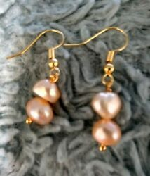 Vintage 14k Gold Finish Natural Double Pink Baroque Pearl Dangle Drop Earrings