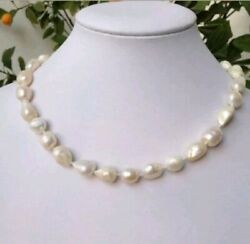 Natural Off White Iridescent Baroque Pearl Necklace 18' Rose Bud 18K GP Clasp