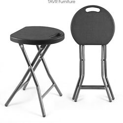 2-Pack 18.1 inch Folding Stool Metal&Plastic Foldable Stool 300lbs Capacity $35.49