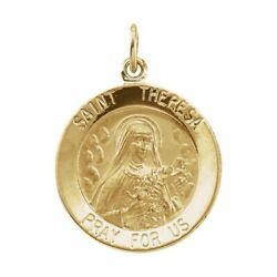 14K Yellow Gold 18mm Round St. Theresa Medal $309.97