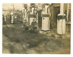 Antique Photo of an early Gas Station Pumps Automotive Photograph