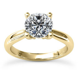 1.41 Carat Round Cut Diamond Ring Solitaire Engagement Yellow Gold 14k