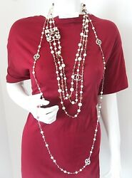 $3925 CHANEL 3 Strand Pearls Burgundy Gripoix Stones Bead CC Runway Necklace NWT