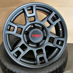 17x8 6x139.7 +15 Matte Black Wheels (Set of 4) Fit Toyota TRD