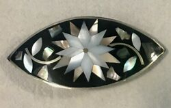 Marked Alpaca Mexico Silver Abalone Mother of Pearl Inlay Hair Barrette Clip