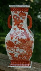 QING antique CHINESE IRON RED BIRD FLORAL PORCELAIN VASE LAMP CHINA 19TH CENTURY