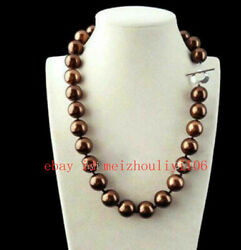 Brown 10mm Genuine South Sea Shell Pearl Round Beads Necklaces 18'' AAA