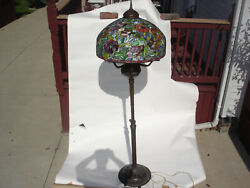 Vintage Rare Bronze Tiffany Floor Lamp Stained Glass Reproduction 82quot; Poppies #1 $16000.00