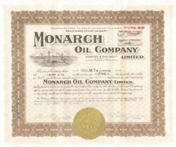 Monarch Oil Company Limited Stock Certificate $14.00