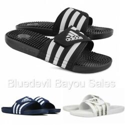 Adidas Men's Adissage Sandals-WhiteBlackBlue
