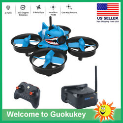 Micro FPV Racing Drone With Goggles Camera RTF Tiny Whoop Quardcopter Blue Shark $84.54