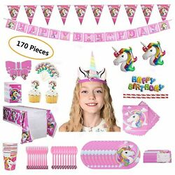 Unicorn Party Set Supplies for 16 Kids 170 Pieces Girl#x27;s Birthday FREE Shipping $24.95