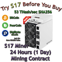 Rent S17 AntMiner. 53 Th Guaranteed 24 Hours Mining Contract Lease SHA256 BTC $37.03