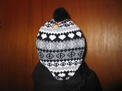 Cold weather Peace Sign Knit Winter Hats With Ear Gray with Black x 2 $17.00