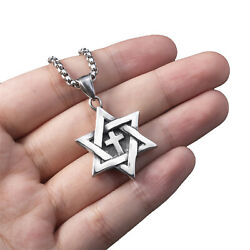 Star of David Messianic cross Men#x27;s Solid Stainless Steel Pendant Necklace Chain $12.99