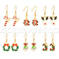 Christmas Earrings Drop Dangle 6 Pairs Holiday Jewelry Gift For Women Girls Kids
