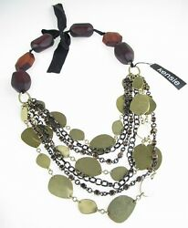 Kensie Wood Bead Gold-Tone Coin Layered Frontal Tie Back Necklace $128 NEW