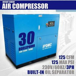30 HP 3-Phase Stationary Corded Electric Rotary Screw Air Compressor 230V460V