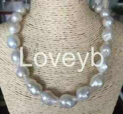 gorgeous 14-15mm south sea keshi baroque white pearl necklace 18