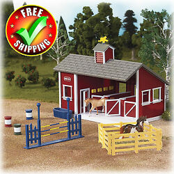 Breyer Stablemates Set Horse Red Stable Farm Equipment Toys Pretend Play Kids