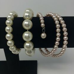 3 Faux Pearl Bracelets Costume Jewelry Vintage 1 Multi Strand Continuous Bead