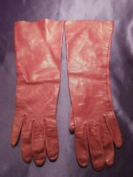 Vintage Burgundy Red Log 3.4 Sleeve Opera Leather Gloves $25.00