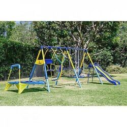 Kids Playground Swing Set Outdoor Slide Trampoline Backyard Jump Bounce Playset