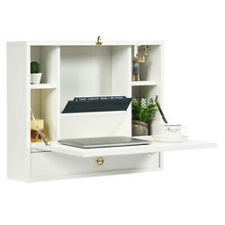 Home Living Room Wall Mounted Laptop Desk Hideaway Organizer White $114.99