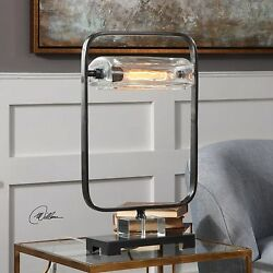 MID CENTURY INDUSTRIAL FORGED METAL TABLE LAMP DESK LIGHT CRYSTAL DETAIL $261.80
