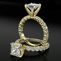 REAL 2 34 CT VS1 PRINCESS CUT & ACCENTS DIAMOND 18K YELLOW GOLD PROMISE RING