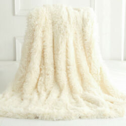 Reversible Faux Fur Blanket Soft Warm Fluffy Bed Sofa Throw Large Long Shaggy $25.64