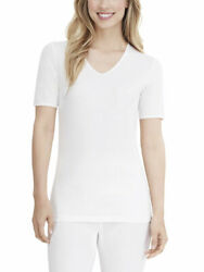 Cuddl Duds Women#x27;s SoftWear Lace Edge Smart Layer V Neck Short Sleeve Top $22.50