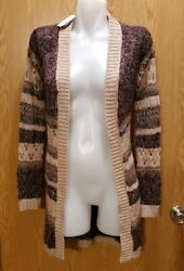 Maurices Open Front Cardigan Sweater Size Small Brown Stripe Long Sleeve NWT