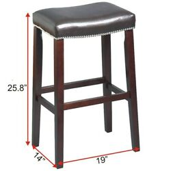 C-P-24 19 X14 X25.8 TEXANDECOR SOLID WOOD BAR STOOL FURNITURE MAN MADE LEATHER S