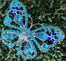 Blue Butterfly Insect Bug Flower Crystal Rhinestone Vintage Pin Brooch Large 2