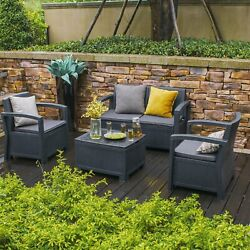 5PC Rattan Wicker Sofa Set Sectional Couch Cushioned Furniture Patio