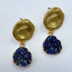 Gold Finished Blue Color Druzy Circle Shape Mini Drop Dangle Post Earrings $7.49