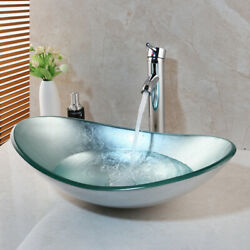 US Tempered Glass Bathroom Vessel Sink Oval Bowl + Chrome Mixer Taps Faucet Sets $78.21