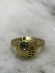 New Todd Reed 18k yellow gold ring with natural colored rose diamonds Size 6