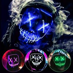 Halloween Clubbing Light Up LED Mask Costume Rave Cosplay Party Purge 3 Modes $6.99