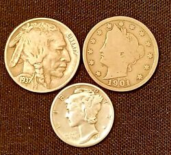 Old US Coins Starter Collection Lot of 3 Rare US Coins. NO CULL COINS. $8.79