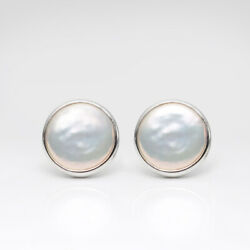 Unique 14mm White FW Button Pearl Stud Earrings Sterling Silver For Women