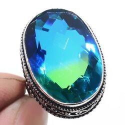 Bi-Color Tourmaline 925 Sterling Silver Jewelry Ring Size-7 4489