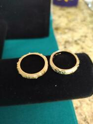Two LGA Lauren G. Adams stackable rings Size 8 Beige and Gold color